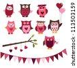 Cute valentine owls - stock vector