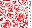 Cute valentine's seamless pattern with hearts - stock vector