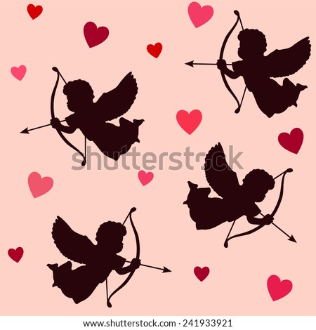 Cute valentine seamless pattern with silhouettes of angels cupids with bows, arrows and hearts, vector illustration background  - stock vector