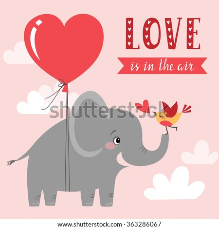 Cute Valentines Card Happy Elephant Bird Vector 363286067 – Elephant Valentines Card
