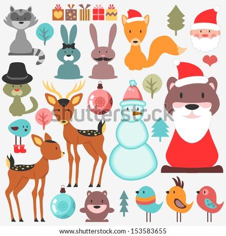 Cute various elements set Christmas theme - stock vector