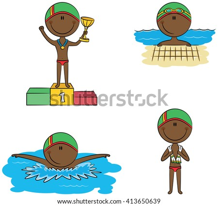 Cute vector African-American boys in different situations in the pool: swimming, standing with a towel and on the winner's podium with the cup - stock vector