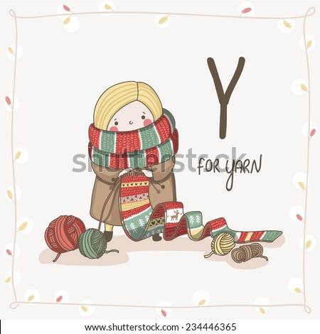 Cute vector Alphabet Christmas. Letter Y - Yarn  - stock vector
