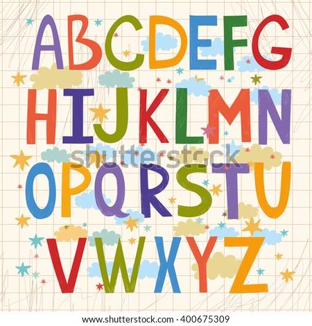 cute vector alphabet for children. kids alphabet. fun learning - stock vector