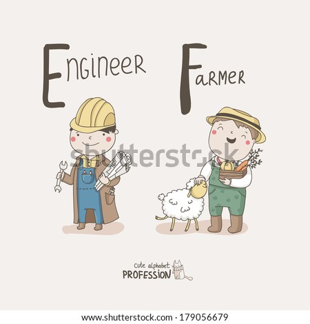 Cute vector alphabet Profession. Letter E - Engineer. Letter F - Farmer.  - stock vector