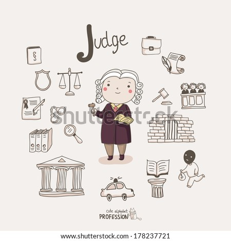 Cute vector alphabet Profession. Letter J - Judge  - stock vector