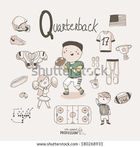 Cute vector alphabet Profession. Letter Q - Quarterback - stock vector