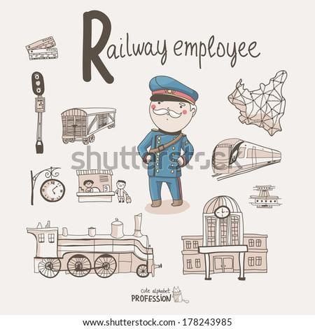 Stock vector cute vector alphabet profession letter r railway employee