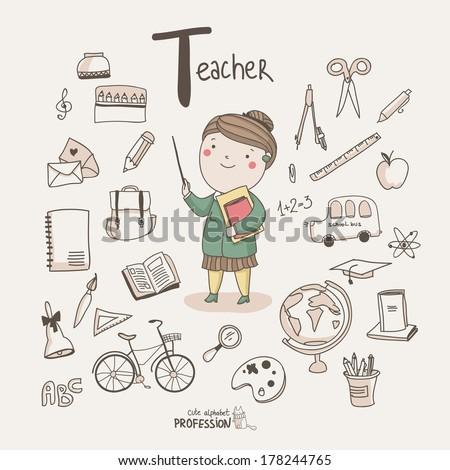 Cute vector alphabet Profession. Letter T - Teacher  - stock vector