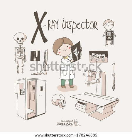 Cute vector alphabet Profession. Letter X - X-Ray Inspector  - stock vector