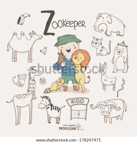 Cute vector alphabet Profession. Letter  Z - Zookeeper  - stock vector