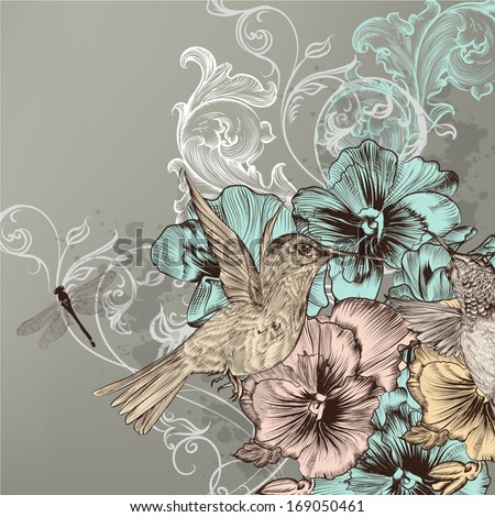 Cute vector background in vintage style with hand drawn birds and flowers  - stock vector