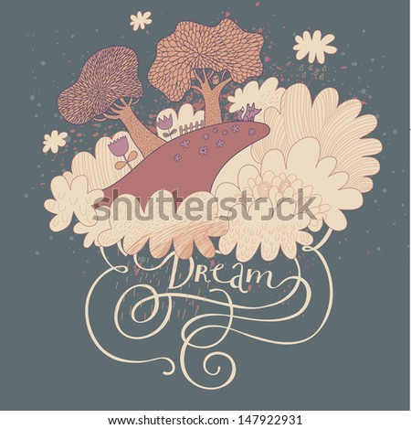 Cute vector background with mountain in the clouds. Dream landscape with trees, flowers and fox in the night. Loneliness concept. - stock vector