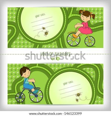 Cute vector banners with space for text. Pretty girl and boy riding a bicycle. - stock vector