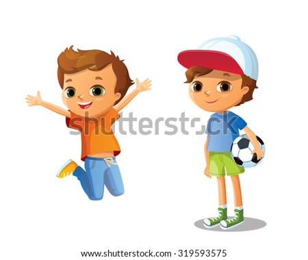 cute vector  boys - stock vector