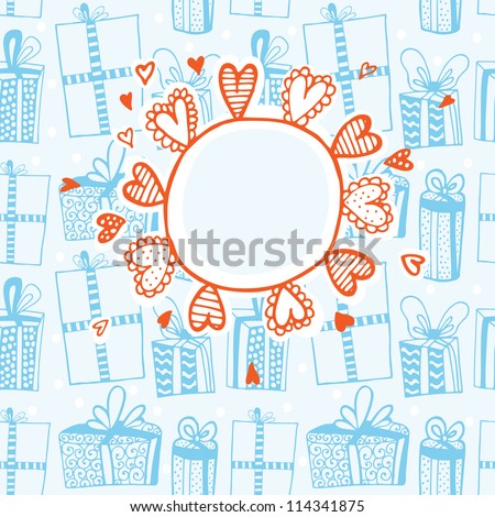 Cute vector card with hand drawn gifts