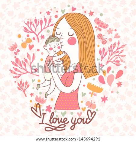 Cute vector card with mother and child in flowers and butterflies. Mothers day postcard design. Vector floral background with mama and son. I love you. - stock vector