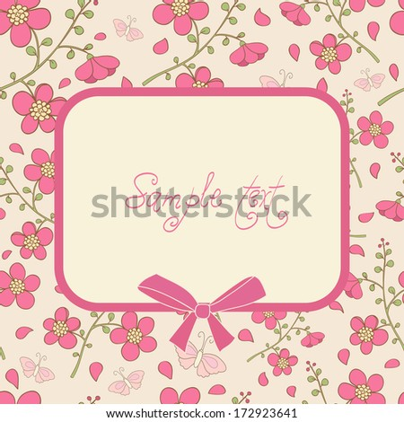 Cute vector card with pink flowers and butterfly. Ideal for scrap booking, celebration card, invitation. - stock vector