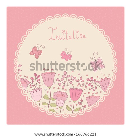Cute vector card with pink flowers and butterfly. Pink background and white lace frame. Ideal for scrap booking, celebration card, invitation. - stock vector