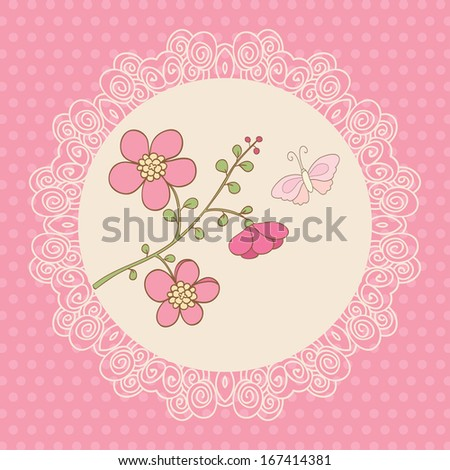 Cute vector card with pink flowers and butterfly. Pink background, polka dot and white lace frame. Ideal for scrap booking, celebration card, invitation. - stock vector