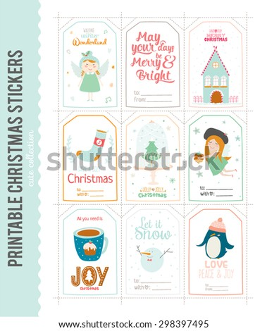 Cute Vector Cards, Notes, Stickers, Labels, Tags with Winter Christmas Illustrations and Wishes. Template for New 2016 Year Greeting Scrapbooking, Congratulations, Invitations. Vertical Card - stock vector