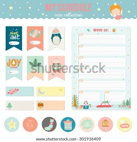 Cute Vector Cards, Notes, Stickers, Labels, Tags with Winter Christmas Illustrations and Wishes. Template for New 2016 Year Greeting Scrapbooking, Wrapping, Invitation, Notebooks, Diary