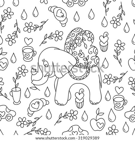 Cute vector cartoon sweet hand drawn seamless pattern. Cute vector print with sweets and flowers. Black and white print. - stock vector