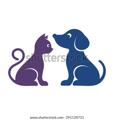 Cute vector cat and dog high quality icons - stock vector