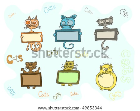 cute vector cats with text box