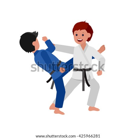 Cute vector character child. Illustration for martial art judo poster. Kid wearing kimono and training judo - stock vector