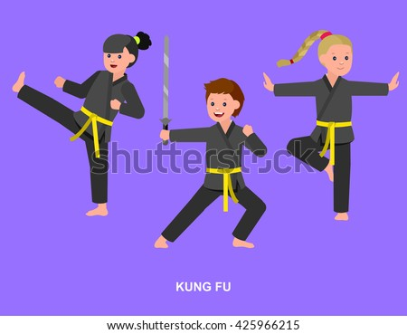 Cute vector character child. Illustration for martial art kung fu poster. Kid wearing kimono and training kung fu - stock vector