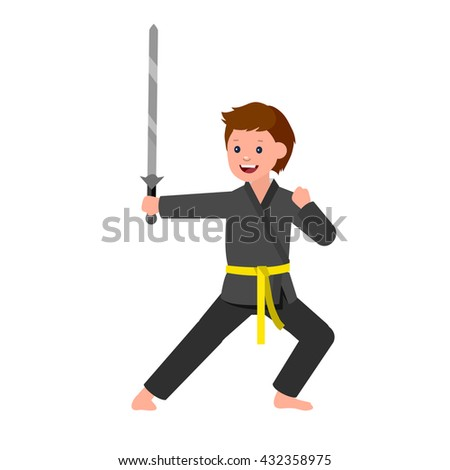 Cute vector character child. Illustration for martial art kung fu poster. Kid wearing kimono and training kung fu