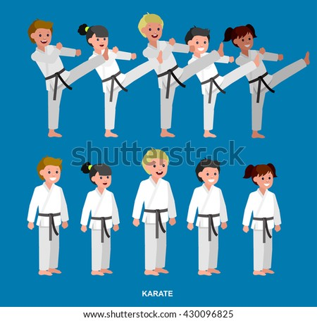 Cute vector character child . Illustration for martial art poster. Kid wearing kimono and karate training - stock vector