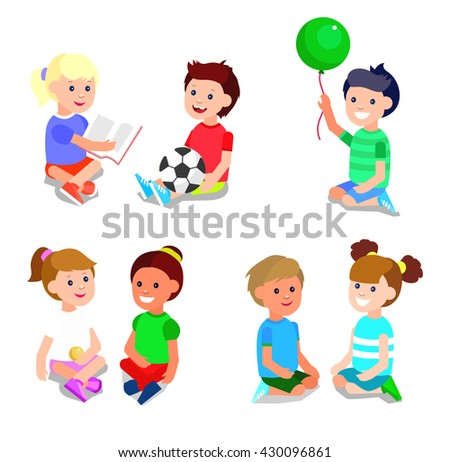 Cute Vector Character Child Playing With Ball Read Book Cheerful Happy Kid Illustration