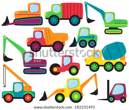 Cute Vector Collection of Construction Equipment and Vehicles - stock vector
