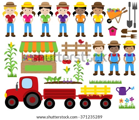 Cute Vector Collection of Farm Related Items and Farmers - stock vector
