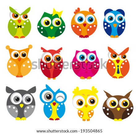 Cute vector collection of owls. - stock vector
