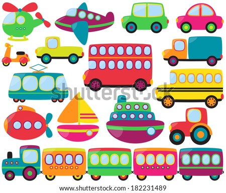 Cute Vector Collection of Transportation Vehicles - stock vector