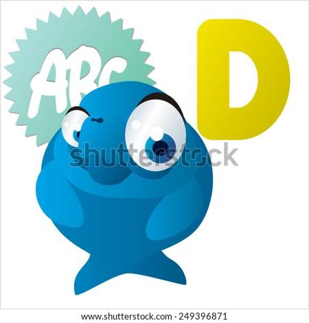 cute vector comic cartoon animals abc: D is for Dugong - stock vector