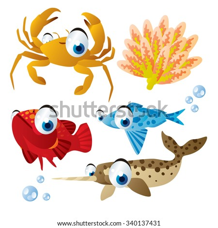 cute vector comic cartoon fish set: collection of sea life animals for children book illustration, flash card games, stickers or mobile applications: crab, coral, grouper, driftfish, narwhal - stock vector