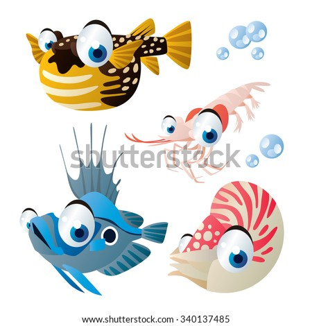 cute vector comic cartoon fish set: collection of sea life animals for children book illustration, flash card games, stickers or mobile applications: puffer fish, shrimp, john dory, nautilus - stock vector