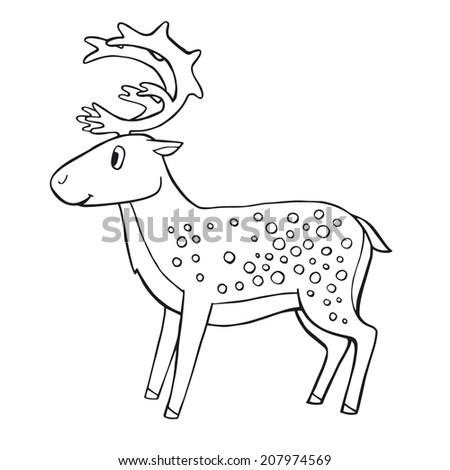 Cute vector deer - stock vector