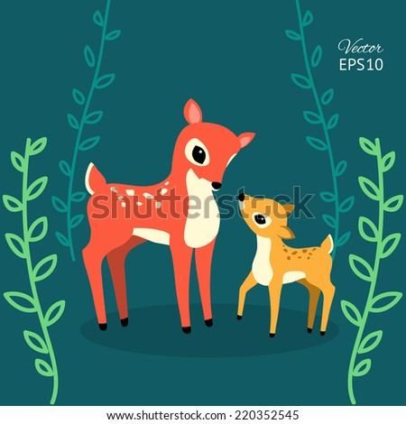 cute vector deers in the forest - stock vector