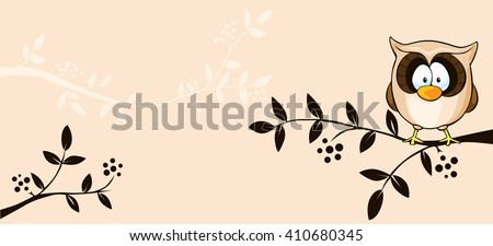 cute vector design with owl and branch - illustration - stock vector