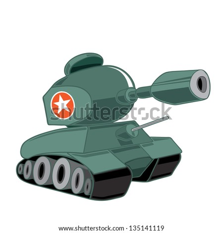 Cute vector drawing of a military tank - stock vector