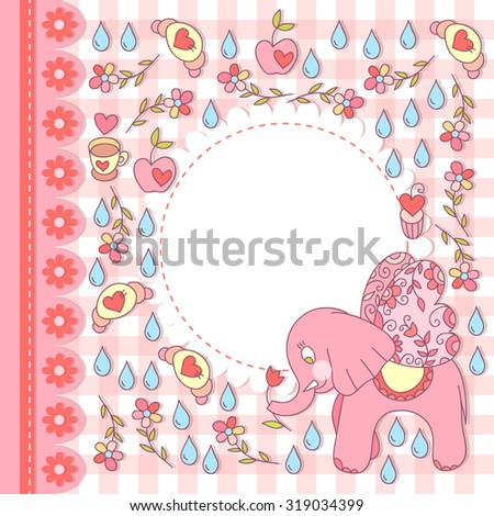 Cute vector elephant photo frame with wings. Baby sweet shower card. Scrapbook elements. Vector illustration.