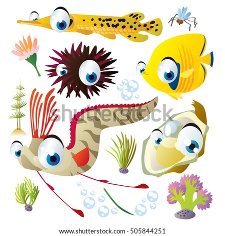 cute vector flat style illustration of sea life animals and fish. Funny collection set of gar, butterfly fish, oarfish, oyster