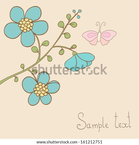 Cute vector floral card. Branch with blue flowers and butterfly. Ideal for celebration card or invitation.
