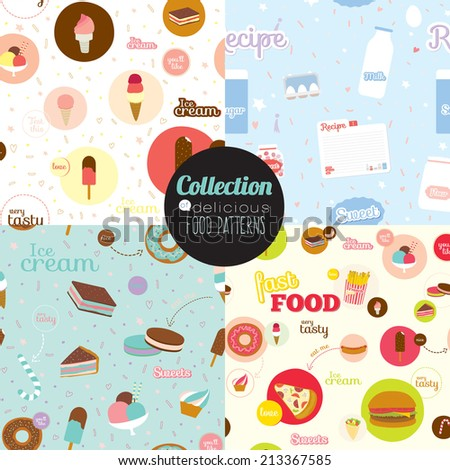 Cute vector food icons with cartoon seamless pattern. Icons of pizza, hamburger, cheeseburger, hot dog, donuts, sandwich, desserts, ice cream, cakes, recipes for restaurants, cafes, on line shop. - stock vector