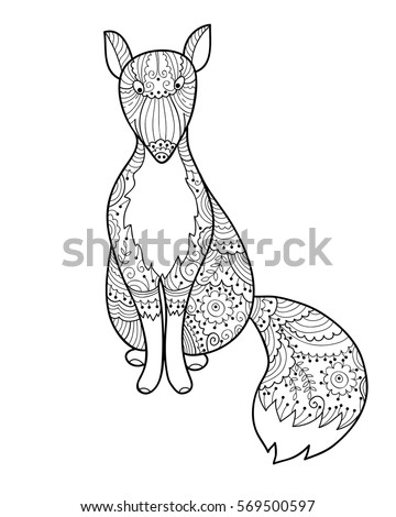 Cute vector fox element for coloring book for adults and kids antistress coloring animal